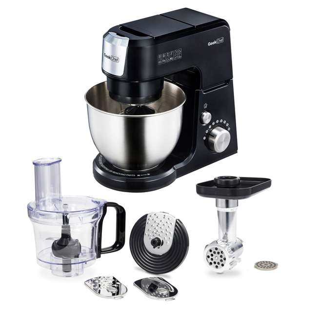 GM25B + GMMN + GMFP Geek Chef 2.6 Quart 7 Speed Stand Mixer with Mincer & Food Processor Attachments