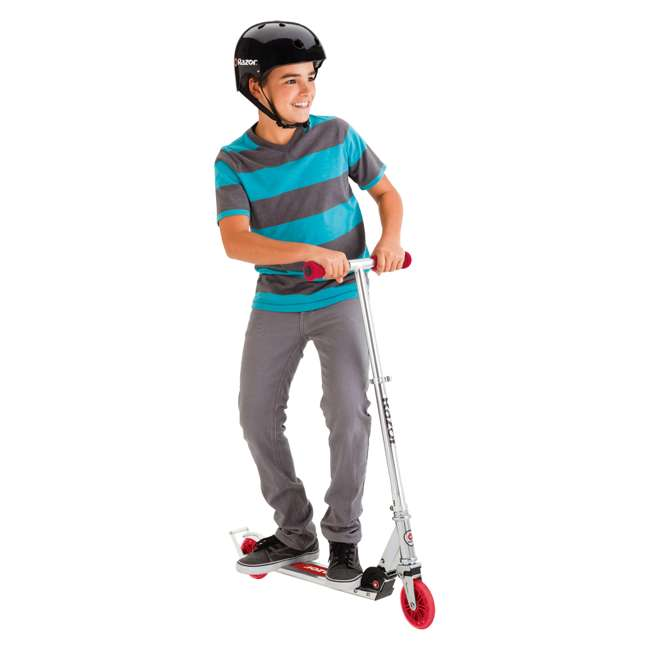 13014360 Razor A3 Kids Folding Aluminum Portable Scooter with Wheelie Bar, Red (2 Pack) 5