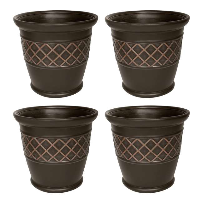 4 x P181601E34 Suncast Atlin 18 Inch Resin Round Decorative Flower Pot Planter, Java (4 Pack)