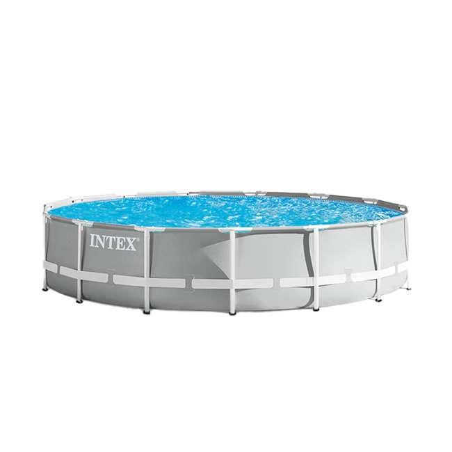 26723EH + 28032E Intex 15 Foot Prism Frame Pool Set with Debris Cover 3