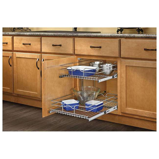 3 x 5WB2-1822-CR Rev-A-Shelf 18 Inch Pull Out 2 Tier Wire Baskets, Plated Chrome (3 Pack) 4
