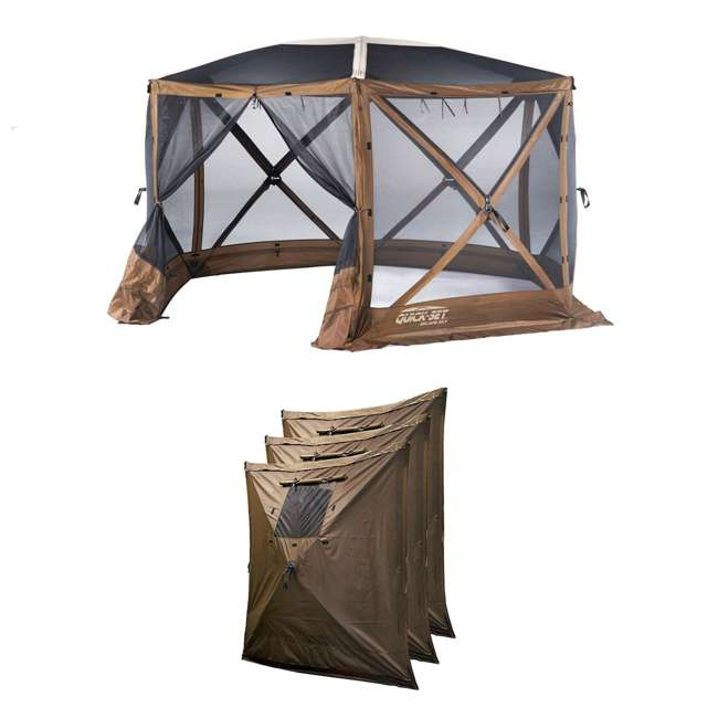 CLAM-ESSS-12873 + CLAM-WP-9898 Clam Quick Set Portable Gazebo + Wind & Sun Panels (3 Pack)