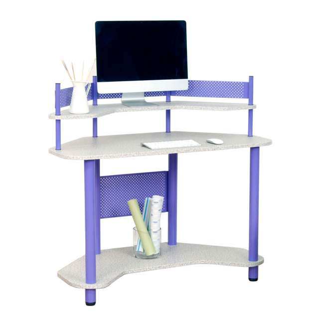 55121 Studio Designs Corner Computer Office Study Desk Workspace, Purple (Open Box) 3