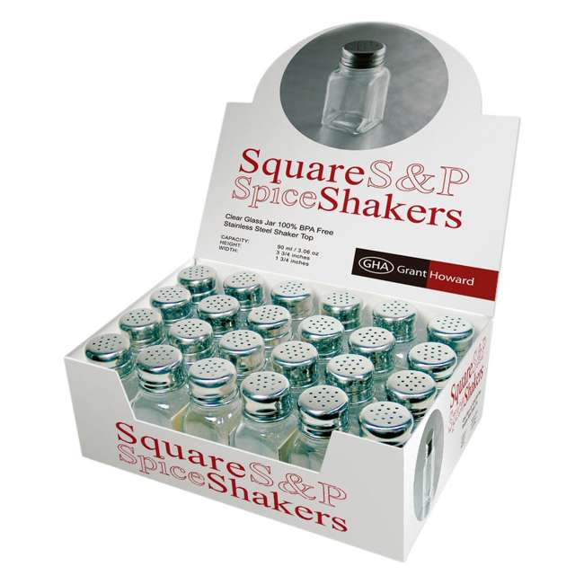 GH-50104-24 PACK Grant Howard 50104 2.5 Ounce Square Salt and Pepper Table Shakers, Set of 24