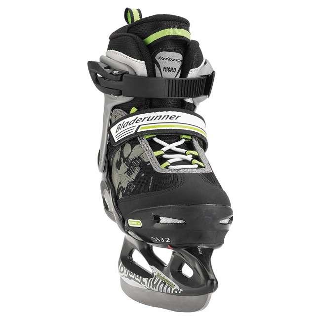0G144400T83-L Bladerunner Micro Ice Junior Boys Youth Adjustable Skates, Large, Black/Green 1