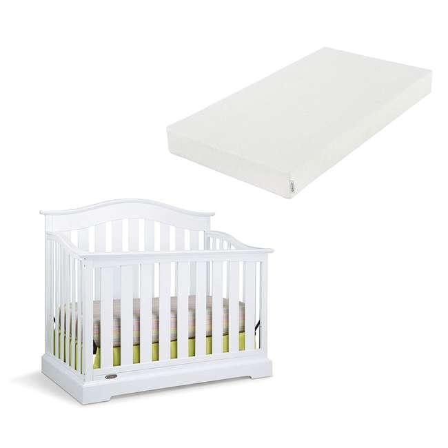 04550-041 + 06711-300 Graco Westbrook 4-in-1 Crib in White w/ Natural Foam Mattress