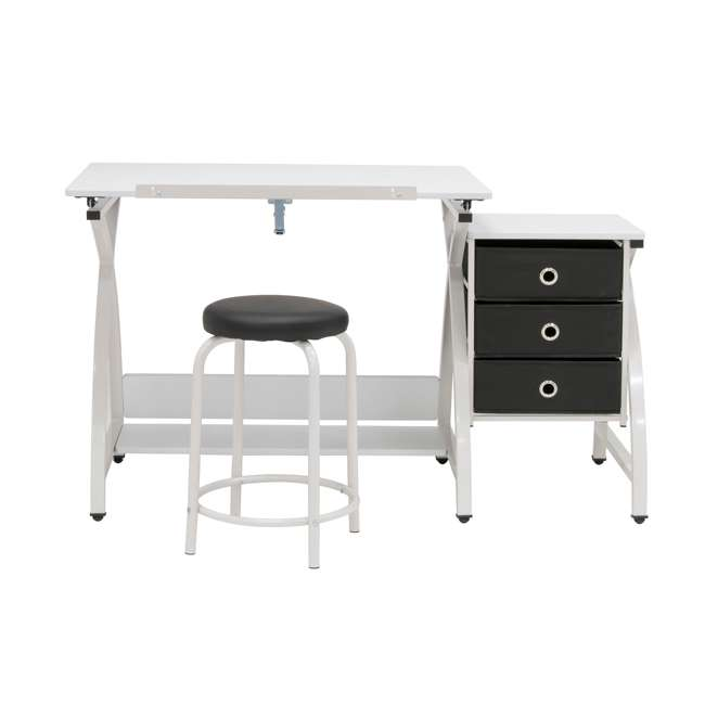 STDN-38016 SD STDN-38016 Comet 2 Piece Craft Table with Adjustable Top and Stool, White 1