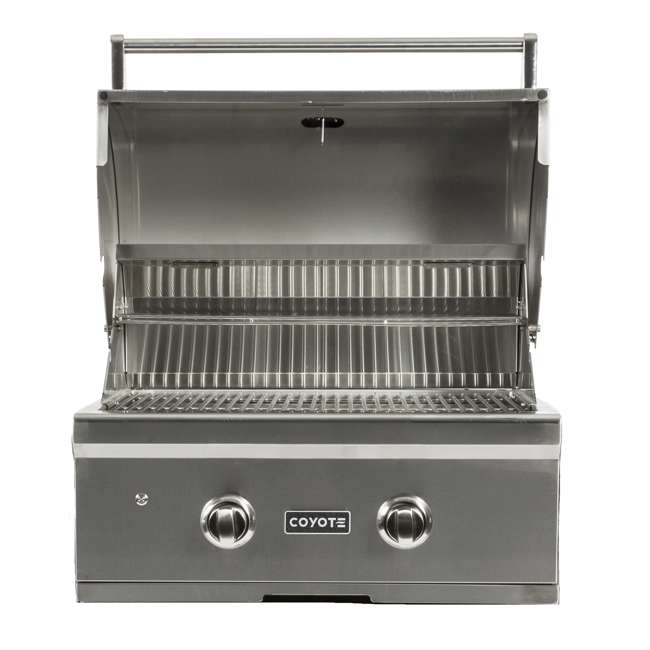 C1C28NG-FS Coyote Outdoor 28 Inch 2 Burner Freestanding Portable Natural Gas Grill, Silver 3