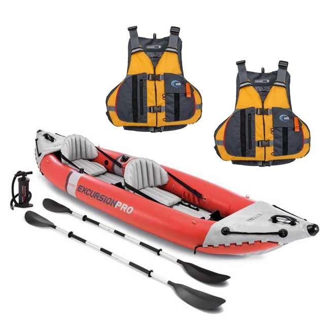 68309EP + 2 x MTI-807L-0EA45 Intex Excursion Pro Inflatable Kayak Set w/ 2 Life Jackets, M/L
