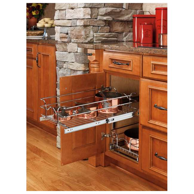 "5WB2-1522-CR Rev-A-Shelf 15"" Wide 22"" Deep Base Kitchen Cabinet 2 Tier Pull Out Wire Basket 5"