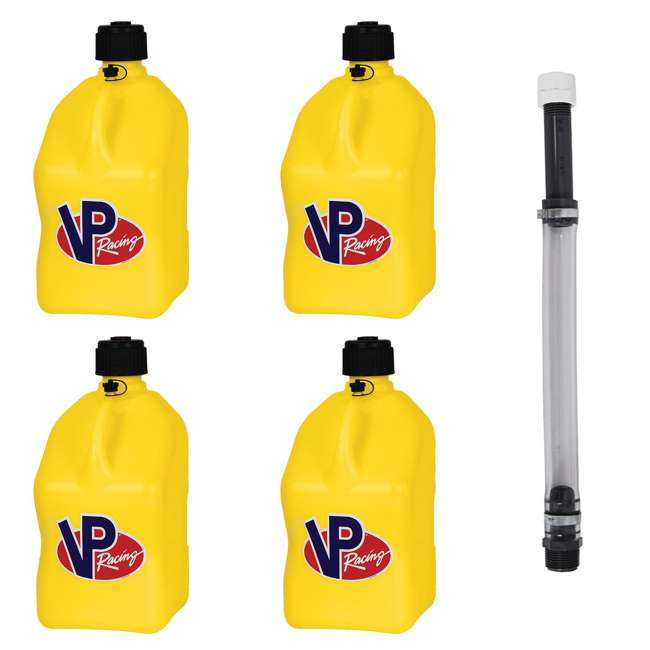 4 x 3552 + 3044B VP Racing 5 Gallon Motorsport Racing Utility Jug (4 Pack) + 14 Inch Hose Kit