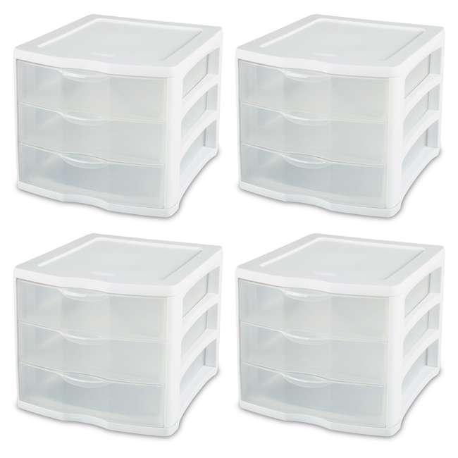 17918004 4 Sterilite ClearView Portable 3 Storage Drawer Organizer Cabinets (Open Box)