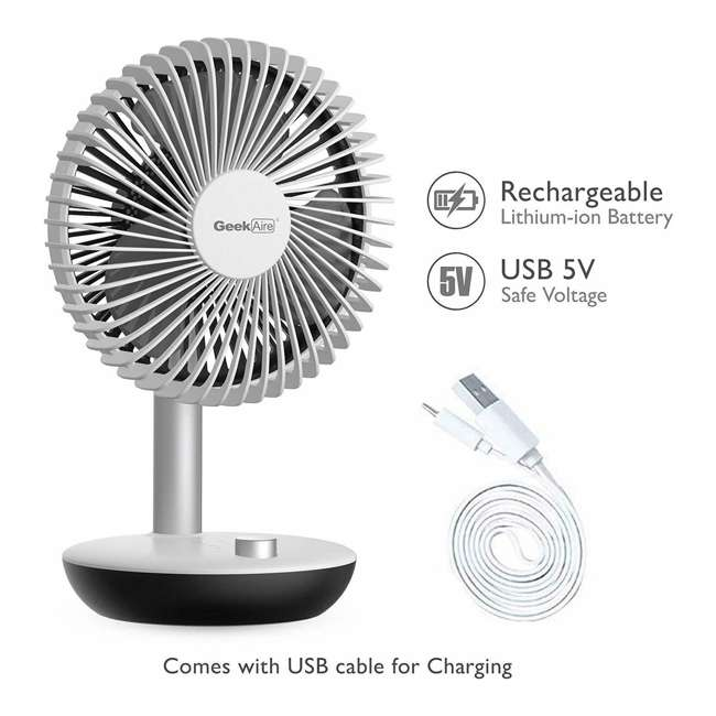 GF5 Geek Aire GF5 Rechargeable Oscillating Portable Mini Silent Table Fan (2 Pack) 2