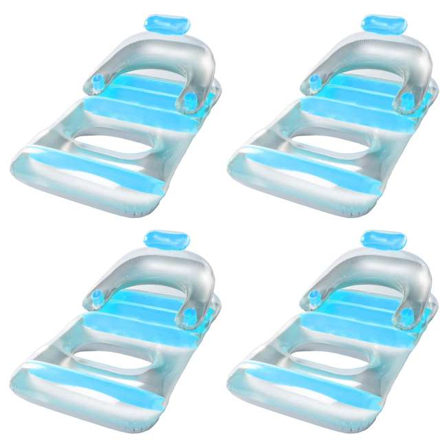 4 x SL-90410 Swimline Swimming Pool Inflatable Floating Lounge Chair with Cupholders (4 Pack)