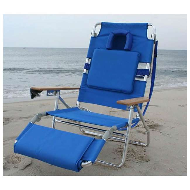 3 x D3N1-1001B Ostrich Deluxe Padded 3-N-1 Outdoor Lounge Reclining Beach Chair, Blue (3 Pack) 5