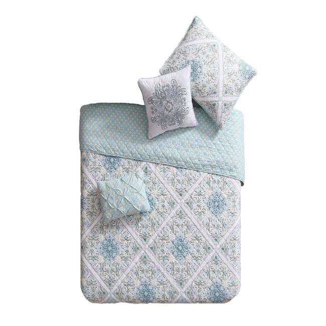 WIN-4QT-XTWN-IN-AQ VCNY Home Windsor Floral Medallion 4 Piece Reversible Bed Quilt Set, Twin XL