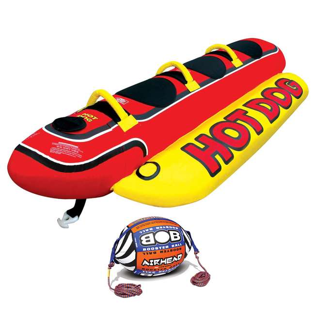 HD-3 + AHBOB-1 AIRHEAD Hot Dog 3 Person Tube & w/ Inflatable Buoy Booster Ball