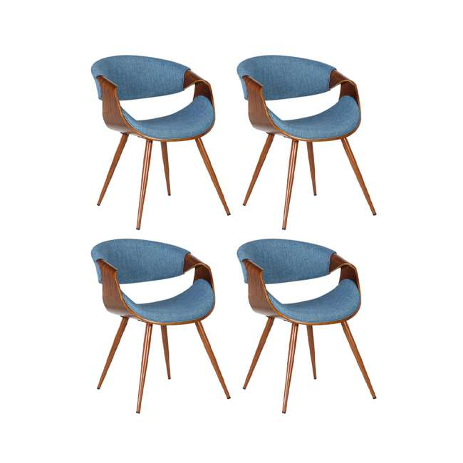 4 x LCBUCHWABL Armen Living Blue Fabric and Walnut Wood Finish Mid Century Dining Side Chair (4 Pack)
