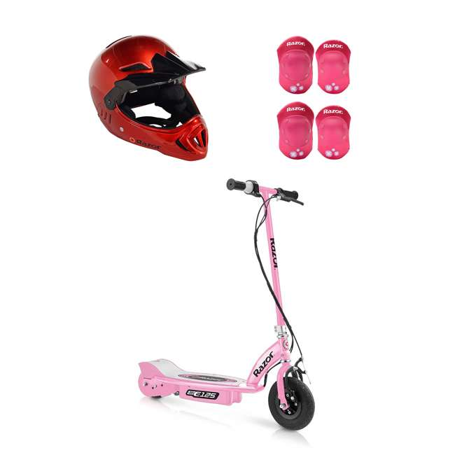 13111163 + 97880 + 96783 Razor E125 Electric Rechargeable Scooter + Bicycle Helmet + Elbow & Knee Pad Set