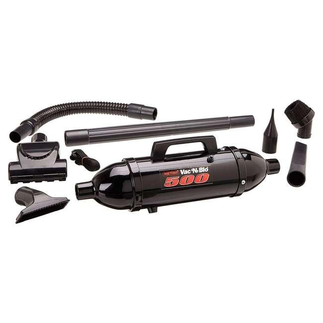 VM12500T MetroVac Vac N Blo 500 Watt Hi Performance Hand Vac and Blower with Turbo Brush, Black