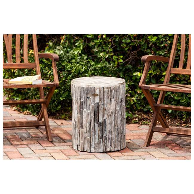 62420 Fire Sense Elyse Round Reclaimed Wood Garden & Patio Stool 4