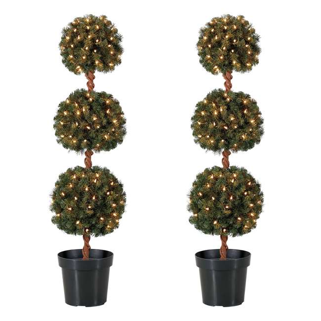 TP40M2W72C09 Home Heritage 4 Ft Artificial Tree w/ Clear Lights for Entryway Decor (2 Pack)