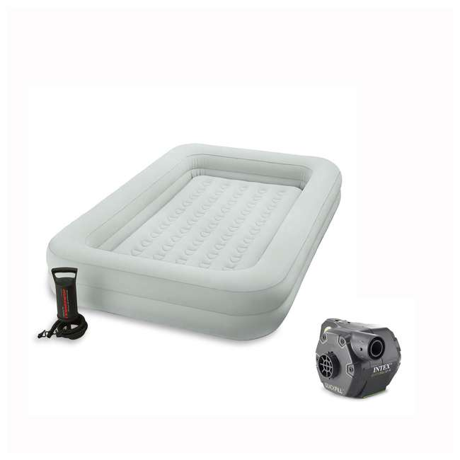 66810EP + 66641E Intex Kidz Camping Travel Air Mattress w/Pump &120 Volt Electric Air Bed Pump