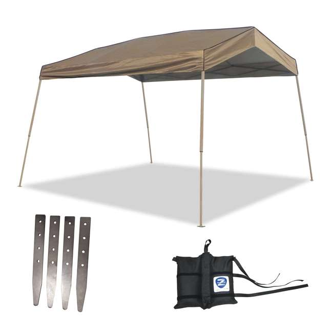 ZS1412PANTN + ZSHDSK4 + ZSHDWB4 Z-Shade 12 x 14 Foot Instant Pop Up Canopy Tent w/ Steel Stakes & Weight Bags