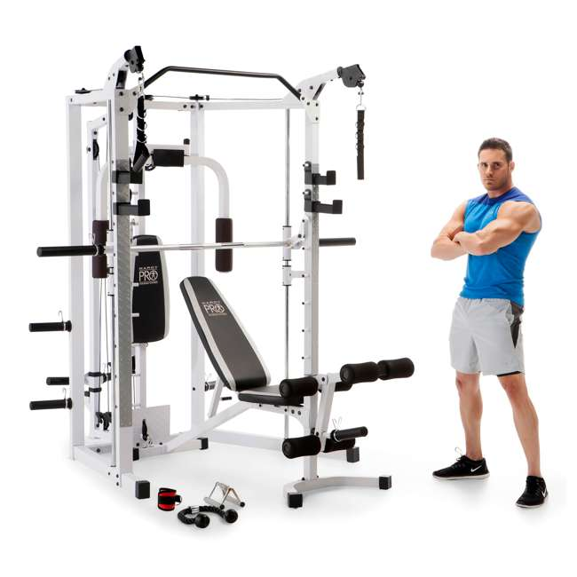 SM-5276 Marcy Combo Smith Strength Home Gym Machine, White