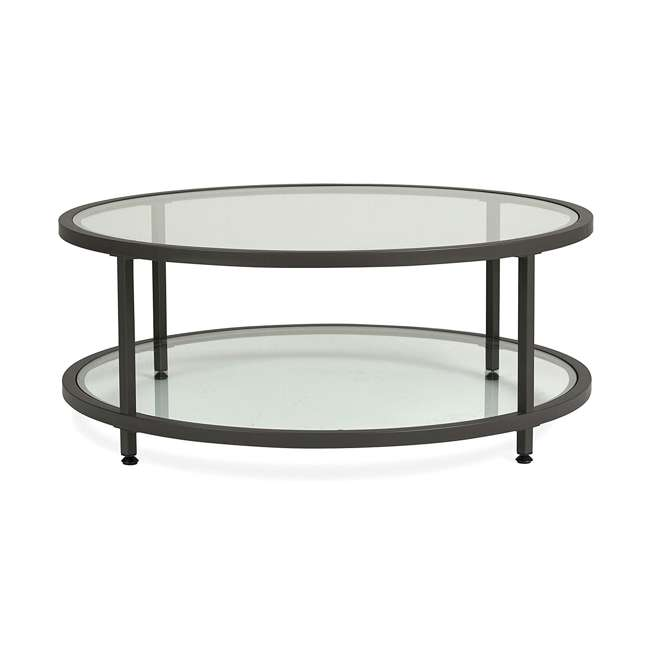 STDN-71003 Studio Designs Home Contemporary Camber Round Glass Coffee Table (2 Pack) 3
