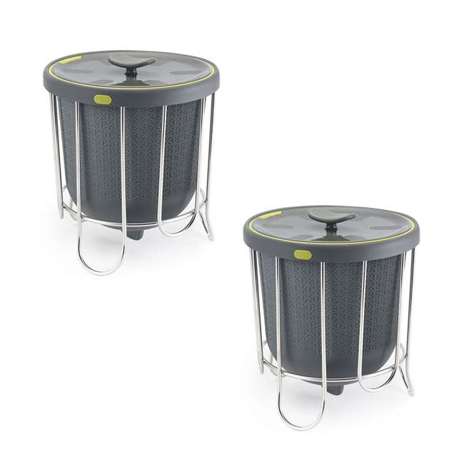 KTH-1415-425 Polder Indoor Portable Kitchen Composter with Stand, Gray (2 Pack)