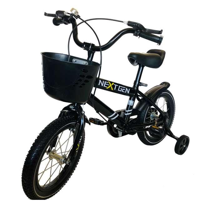 14BK-BLK NextGen 14 Inch Childrens Kids Bike Bicycle with Training Wheels & Basket, Black