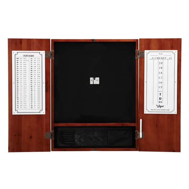 VIP40-0405-U-A Viper Cinnamon Finish Sisal Bristle Steel Tip Dartboard Cabinet (Open Box) 2