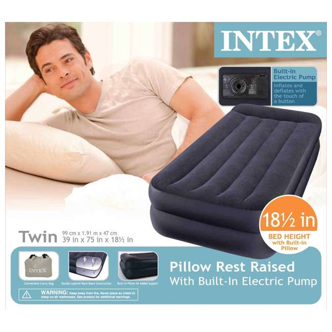 66705E Intex Twin Raised Pillow Rest Airbeds with Built-In Pump (2 Pack) 4