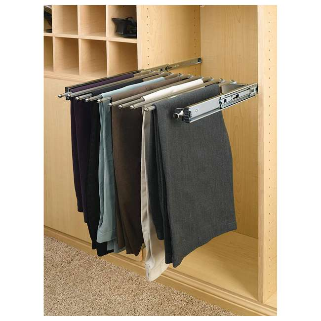 PSC-2414CR Rev-A-Shelf PSC-2414CR 24-inch Chrome Pullout Pants Rack for 13 Pairs of Pants 2