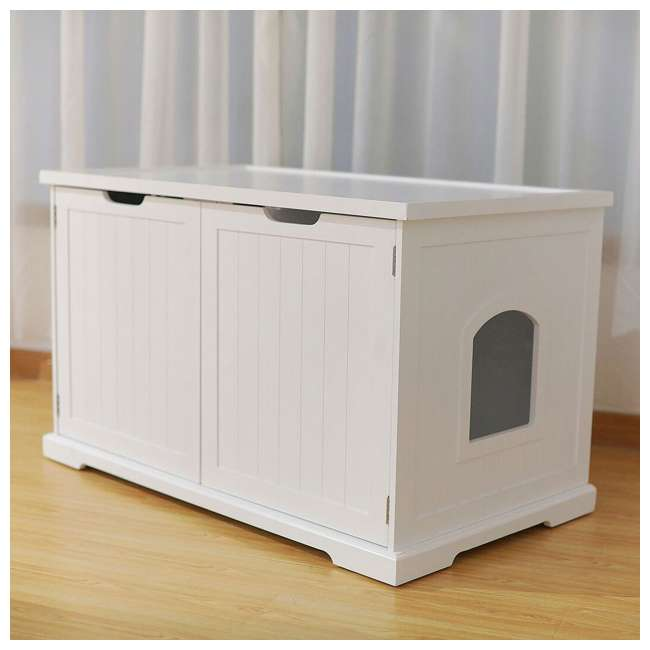 MPS010-U-D Merry Products Bench with Enclosed Cat Litter Washroom Box, White (Damaged) 3