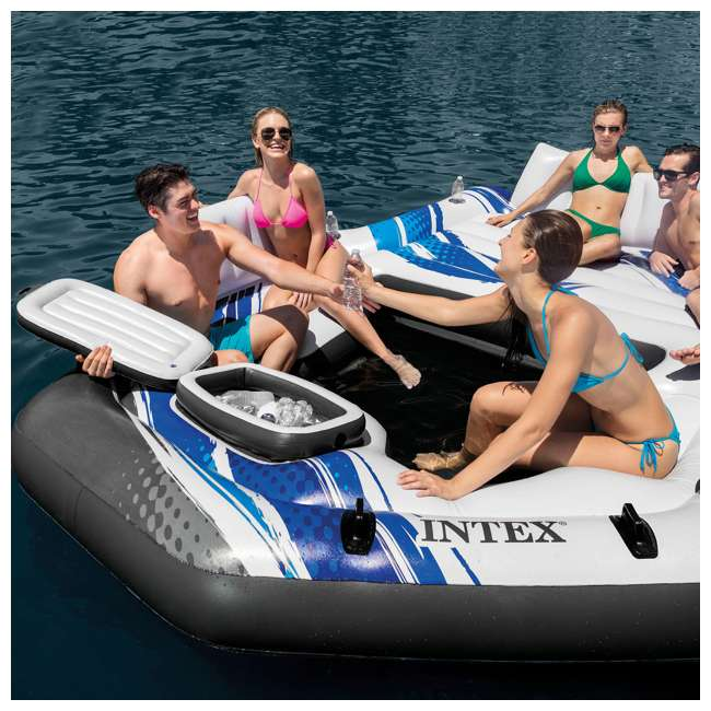 57272EP + 66639E Intex Adult 5 Seat Pool Float w/ Quick Fill AC Electric Air Pump 4
