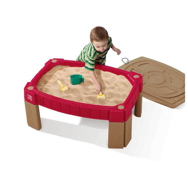 759499 Step2 Outdoor Kids Naturally Playful Raised Lidded Sand Table with Accessory Kit