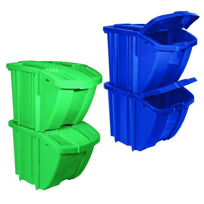 BH18GRN2 + BH18BLUE2 Suncast Stackable Recycling Containers with Lids, Green (2 Pack) & Blue (2 Pack)