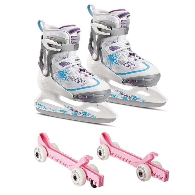 0G144500T1A-S + 44374-P Rollerblade Bladerunner Micro Ice G Skates, Small, and Skate Guard Rollers (Pair)