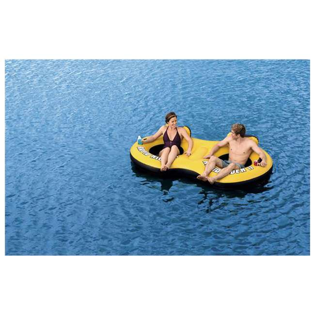 43113E-BW + 66639E Bestway Rapid Rider 2 Person Pool Float + Air Pump 2