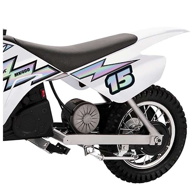 15128008 + 97775 Razor MX400 Dirt Rocket Electric Motorcycle, White + Helmet 5