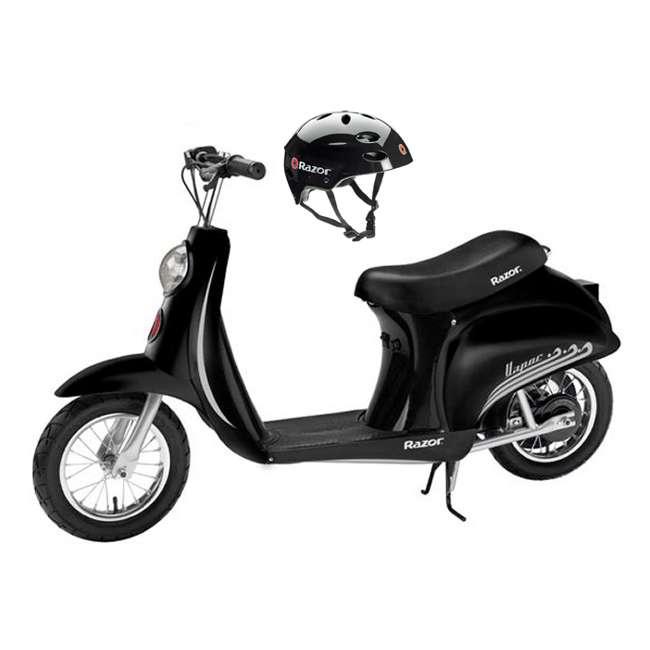 15130601 + 97778 Razor Pocket Mod (Black) & Youth Sport Helmet (Black)