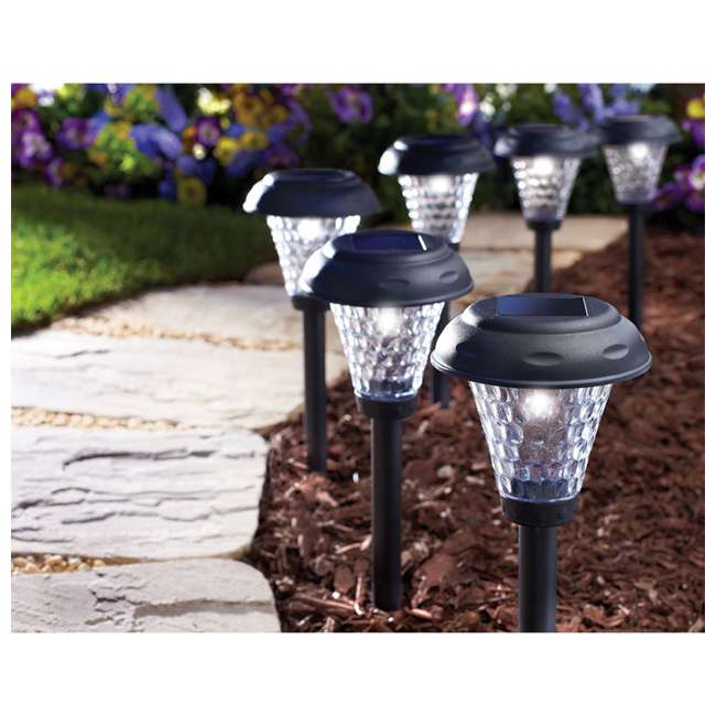 MR-91381 Moonrays 91381 Payton 2.4 Lumens Solar LED Plastic Landscape Path Lights, 8 Pack 1