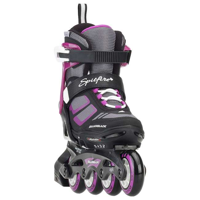 17849100N41-2-5 Rollerblade Spitfire XT Girls Adjustable Kids Inline Skates, Black and Pink 1