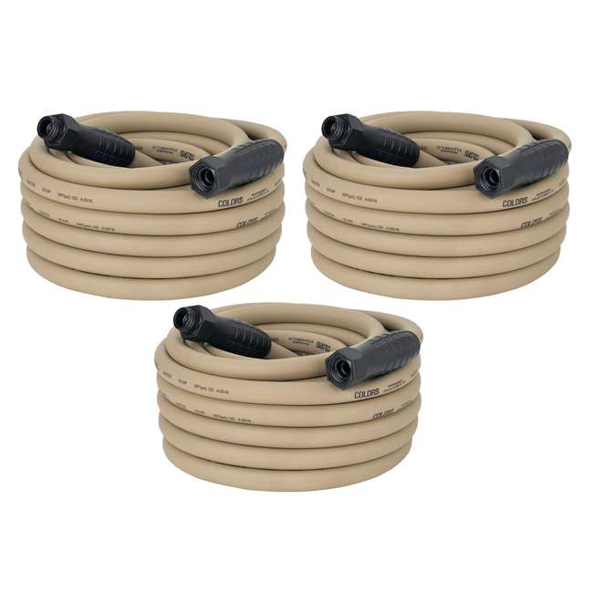 3 x LEG-HFZC550BRS Flezilla Colors 50-Foot Garden Hose with SwivelGrip, Brown Mulch (3 Pack)