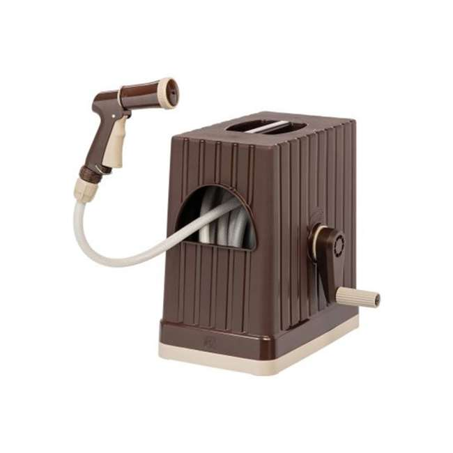 588518 IRIS USA 98.42 Foot Portable Hose Reel Caddy with Nozzle, Brown