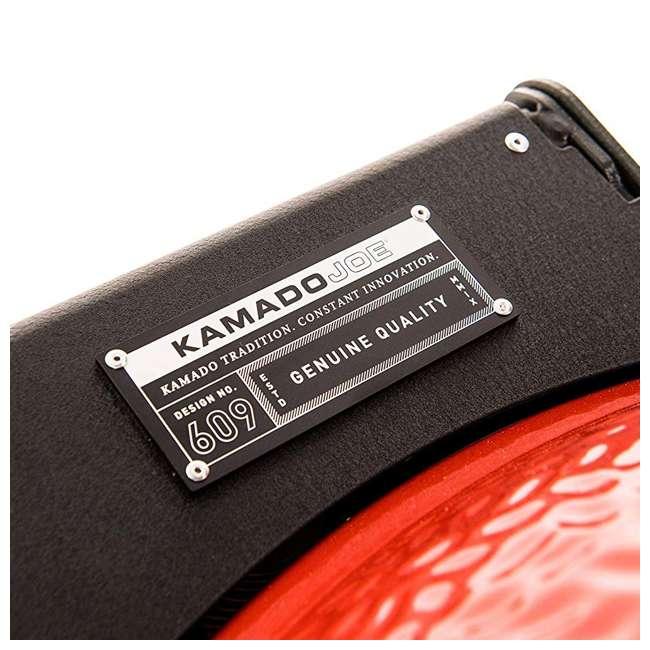 BJ24RHCI-A Kamado Joe BJ24NRHCI Big Joe III 24 In. Portable BBQ Ceramic Charcoal Grill, Red 4