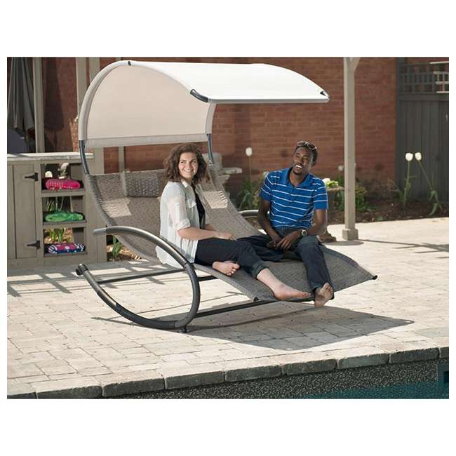 CHAISERK2-SA-U-B Vivere Double Seated Chaise Canopy Steel Rocking Patio Chair, Sienna (Used) 2