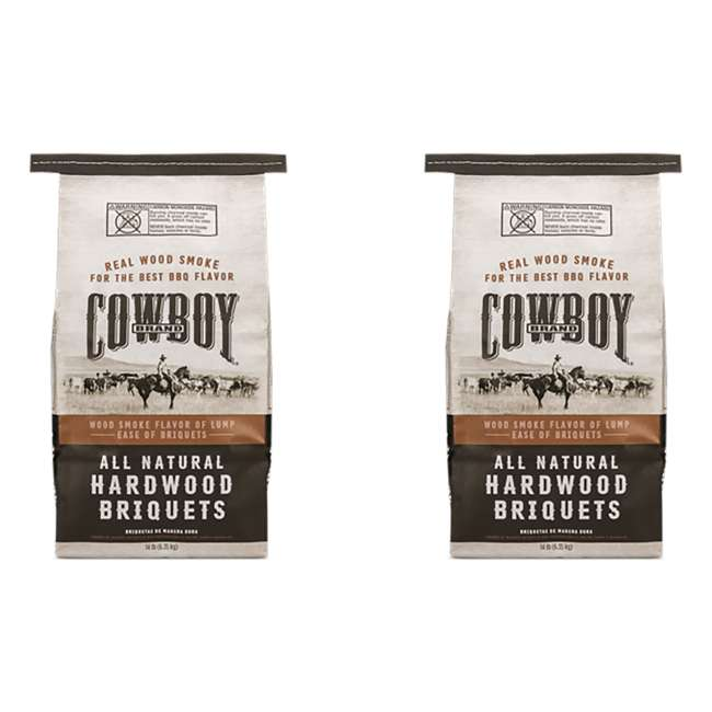 26014 Cowboy 14 Pound All Natural Hardwood BBQ Charcoal Briquets for Grilling (2 Pack)